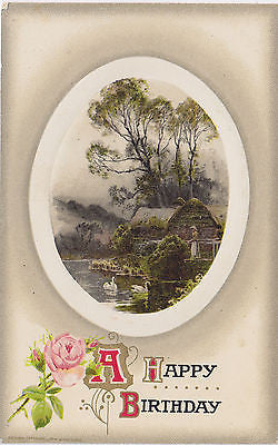 """A Happy Birthday"" Cottage Woman Swans John Winsch Postcard - Cakcollectibles - 1"