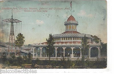Carousel and Circle Swing-Riverview Park-Chicago 1909 Original one of a kind vintage postcard front