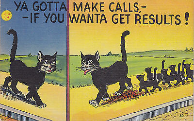 Ya Gotta Make Calls,If You Want Results Linen Comic Postcard - Cakcollectibles - 1