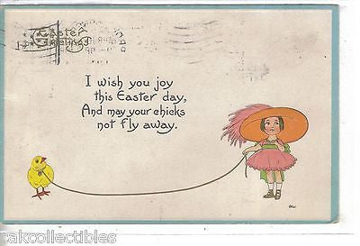 Easter Post Card-Girl with Chick on a leash 1914 - Cakcollectibles - 1