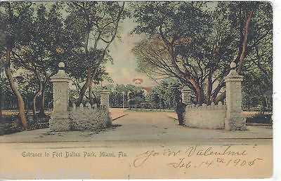 Entrance to Fort Dallas Park-Miami,Florida 1905 - Cakcollectibles