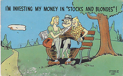 """Stocks And Blondes"" ! Comic Linen Postcard - Cakcollectibles - 1"