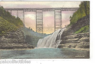 Upper Falls and Portage Bridge,Letchworth State Park-Castile,N.Y. (Hand Colored) - Cakcollectibles
