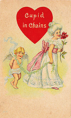 Cupid In Chains Valentine Comic Postcard - Cakcollectibles