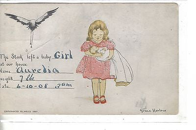 Stork and Girl with Baby-Grace Harlow 1908 - Cakcollectibles