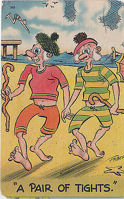 A Pair Of Tights Linen Comic Postcard - Cakcollectibles - 1