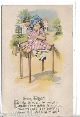 Early Post Card-Doll on Table made like a horse 1919 - Cakcollectibles - 1