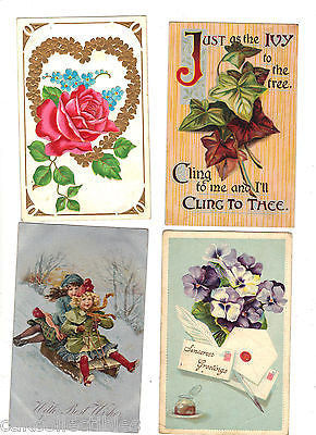 Lot of 4 Antique Greetings Post Cards-Lot 34 - Cakcollectibles - 1