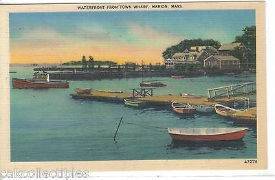 Waterfront from Town Wharf-Marion,Massachusetts - Cakcollectibles