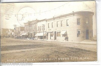 Brown City Bank, Michigan 1911 Front of rare postcards, old picture postcards for sale