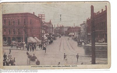 Pipestone Street-Benton Harbor,Michigan 1909 - Cakcollectibles - 1