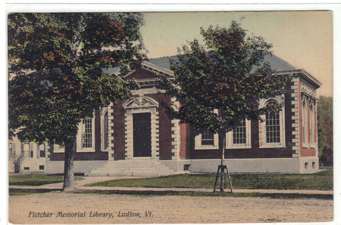 Fletcher Memorial Library-Ludlow,Vermont 1909 Post Card - 1