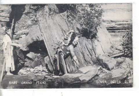 RPPC-Baby Grand Piano-Lower Dells,Wisconsin -Native American