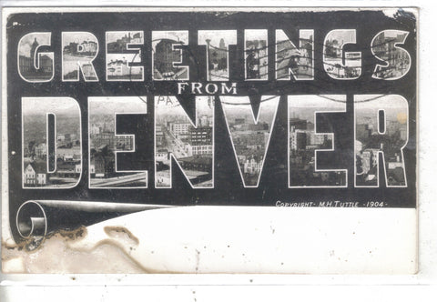 RPPC-Large Letter-Greetings from Denver Post Card - 1
