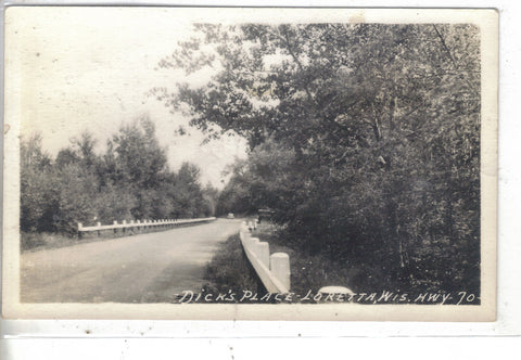RPPC-Dick's Place,Highway 70-Loretta,Wisconsin Post Card - 1