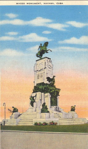 Maceo Monument-Havana,Cuba 1955 Post Card - 1