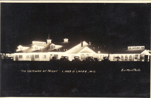 RPPC-The Gateway Inn at Night-Land O'Lakes,Wisconsin Post Card - 1