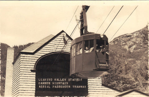 RPPC-Leaving Valley Station,Cannon Mt. Aerial Passenger Tramway -vintage postcard - 1