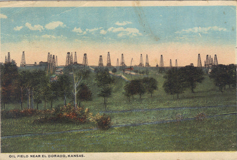 Oil Field near El Dorado,Kansas -vintage postcard - 1