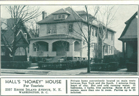 "Hall's ""Homey"" House-Washington,D.C. -vintage postcard - 1"