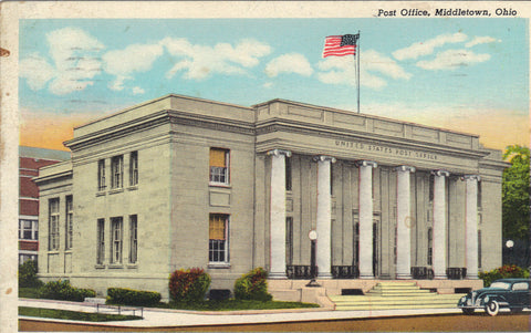 Post Office-Middletown,Ohio -vintage postcard - 1