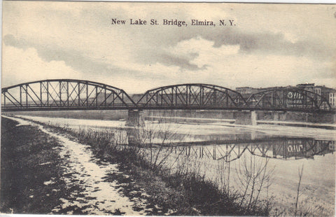 New Lake Street Bridge-Elmira,New York UDB -vintage postcard - 1