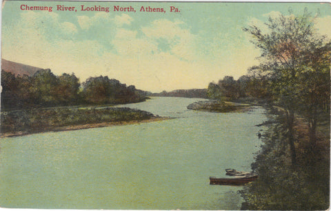 Chemung River,Looking North-Athens,Pennsylvania 1918 -vintage postcard - 1