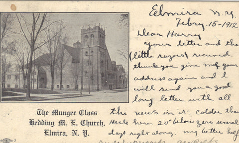 The Munger Class,Redding M.E. Church-Elmira,New York UDB -vintage postcard - 1