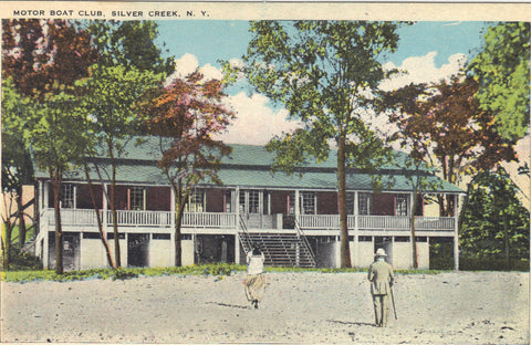 Motor Boat Club-Silver Creek,New York -vintage postcard - 1