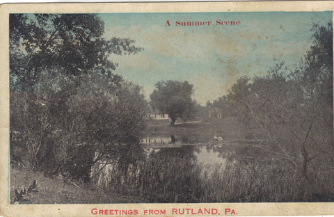 A Summer Scene-Greetings from Rutland,Pennsylvania 1919 - Cakcollectibles - 1