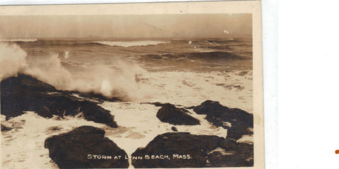 RPPC-Storm at Lynn Beach,Massachusetts - Cakcollectibles - 1