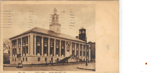 City Hall-Burlington,Vermont 1937 - Cakcollectibles - 1