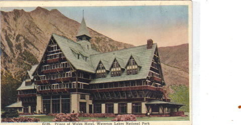 Prince of Wales Hotel-Waterton Lakes National Park retro postcard front