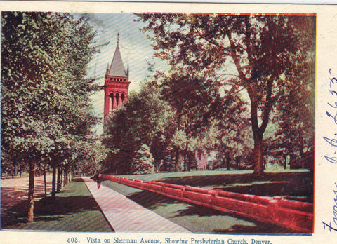 Vista on Sherman Avenue,Showing Presbyterian Church-Denver,Colorado 1907 - Cakcollectibles - 1