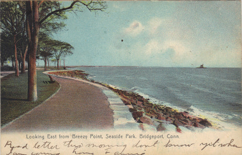 Looking East from Breezy Point,Seaside Park-Bridgeport,Connecticut UDB - Cakcollectibles - 1