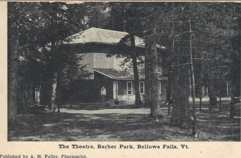 The Theatre,Barber Park-Bellows Falls,Vermont vintage postcard front