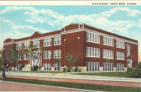 High School-Great Bend,Kansas vintage postcard front