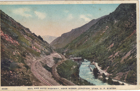 Rail and Auto Highway near Weber Junction-Utah,U.P. System - Cakcollectibles - 1