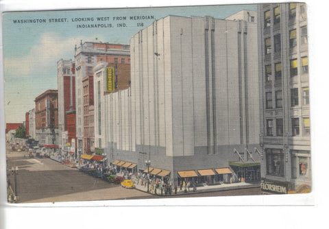 Washington Street,Looking West from Meridian-Indianapolis,Indiana - Cakcollectibles - 1