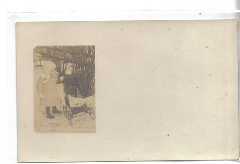 RPPC-Small Girl with Baby Stroller - Cakcollectibles - 1