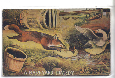 """A Barnyard Tragedy""-Fox and Ducks 1914 - Cakcollectibles - 1"