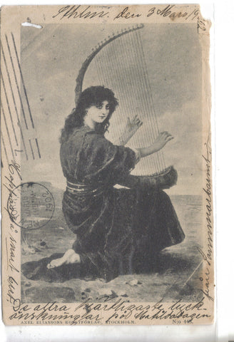 Woman Playing Harp-Sweden 1902 - Cakcollectibles - 1