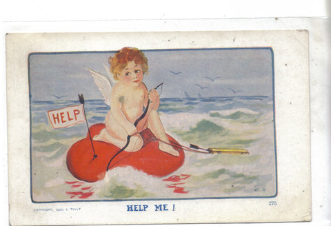 "Early Post Card-Cupid on Heart Raft-""Help Me!"" - Cakcollectibles - 1"