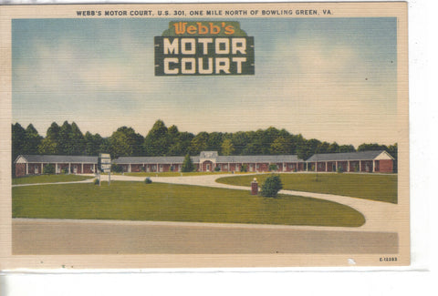 Webb's Motor Court-Bowling Green,Virginia Linen Post Card -vintage postcard - 1