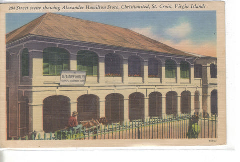 Street Scene Showing Alexander Hamilton Store-Christiansted,St. Croix,V.I. 1954 - Cakcollectibles - 1