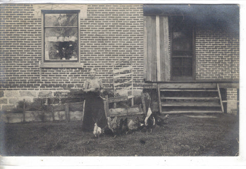 RPPC-Woman Feeding Chickens 1911 - Cakcollectibles - 1