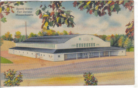 Sports Arena-Fort Devens,Massachusetts Linen Postcard - Cakcollectibles - 1
