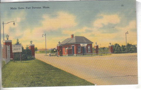 Main Gate- Fort Devens,Massachusetts Linen Postcard - Cakcollectibles - 1