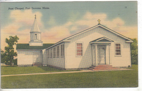 Post Chapel - Fort Devens,Massachusetts Linen Postcard - Cakcollectibles - 1