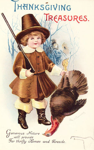 Thanksgiving Treasures - Pilgrim Boy and Turkey- Signed Clapsaddle